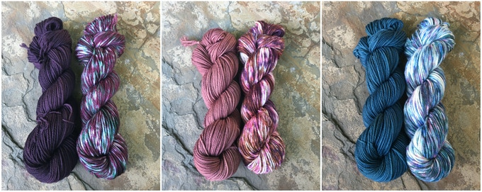 Left to Right: Elderberry Purple and Elderberry. Hopniss Flower and Hopniss. Succulent Green and Succulents.