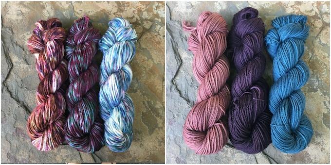 Left: Hopniss, Elderberry, and Succulents. Right: Hopniss Flower, Elderberry Purple, and Succulent Green.