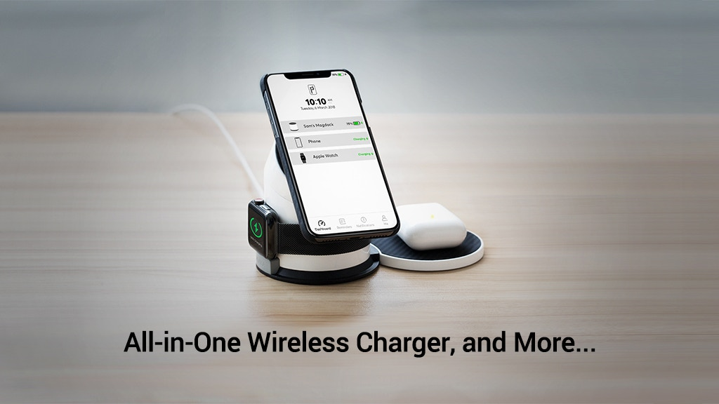 An All-in-One Wireless Charging Dock Inbuilt with Power Bank