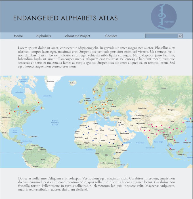The home page at endangeredalphabets.net will look like this, but with less Latin. And (with luck) a few sponsors.