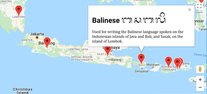 This is what you'll see if you zoom in on Indonesia, and then hover over the pin on Bali.