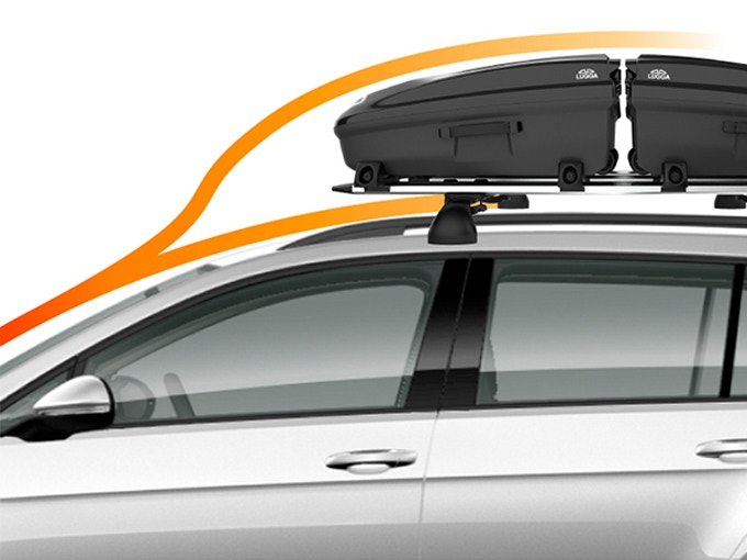 Lugga's car rack design disturbs airflow with roof and rack separation to reduce noise, drag, and improved fuel economy.