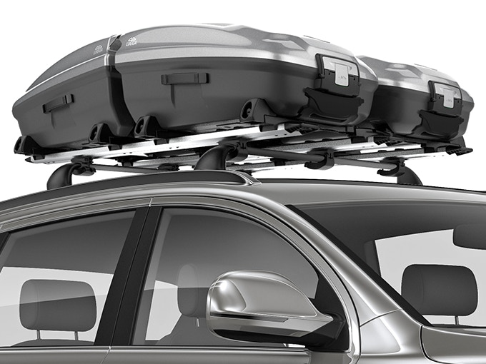 Lugga is a complete roof luggage system available in two sizes.
