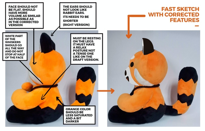 Now for a side view, again depicting the actual, photographed plushie sample on the left with our updated rendering (with fixes) on the right.