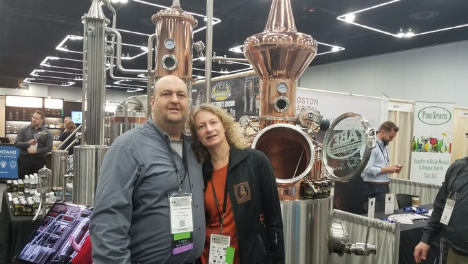 Jason and Jennell at the American Distilling Institute Conference searching for our next still.