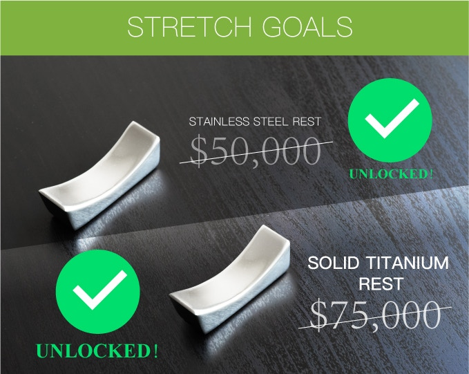 $75k stretch goal unlocked! Free Titanium chopstick rest with each pair ordered!