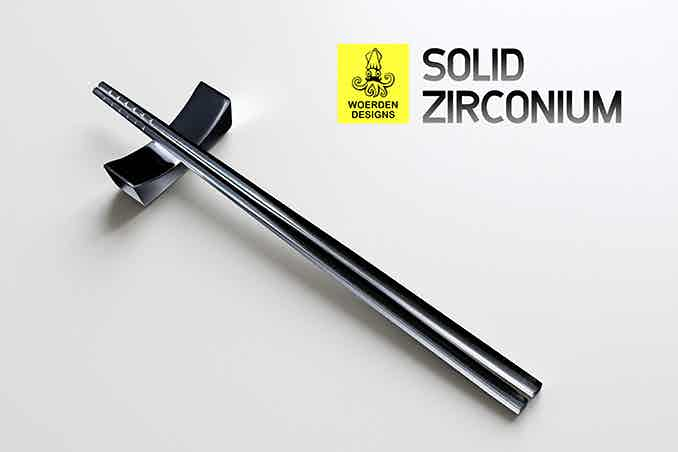 Introducing solid Zirconium! A rare metal that's more corrosion resistant than even Titanium! A solid Zirconium rest comes with each Zirconium chopsticks pledge!