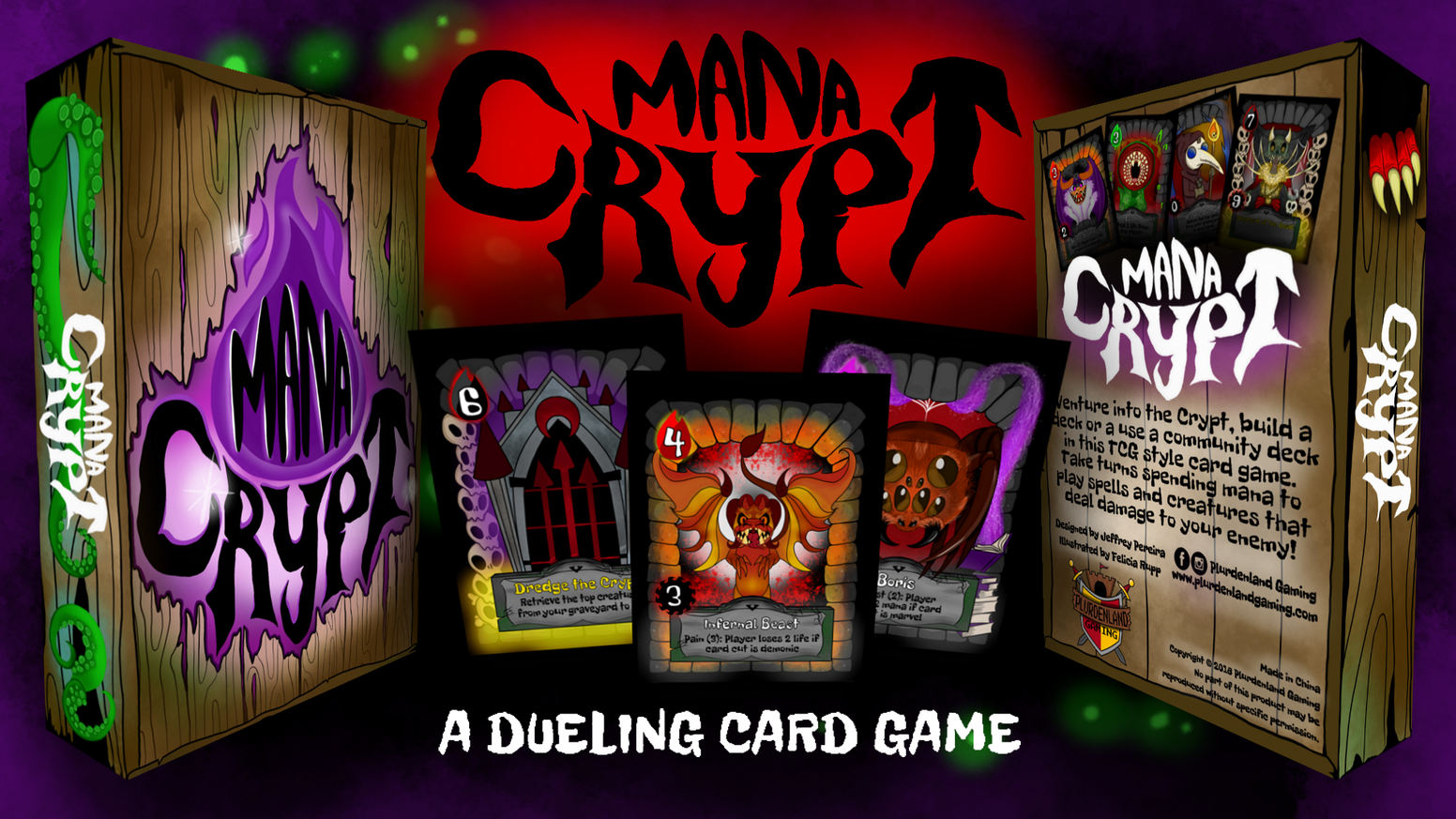 Venture into the Crypt. Build a deck, bury your enemies. Spend mana to play spell and creature cards in this tcg style card game.
