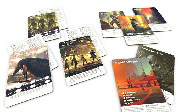 A mockup of some of the handout cards.