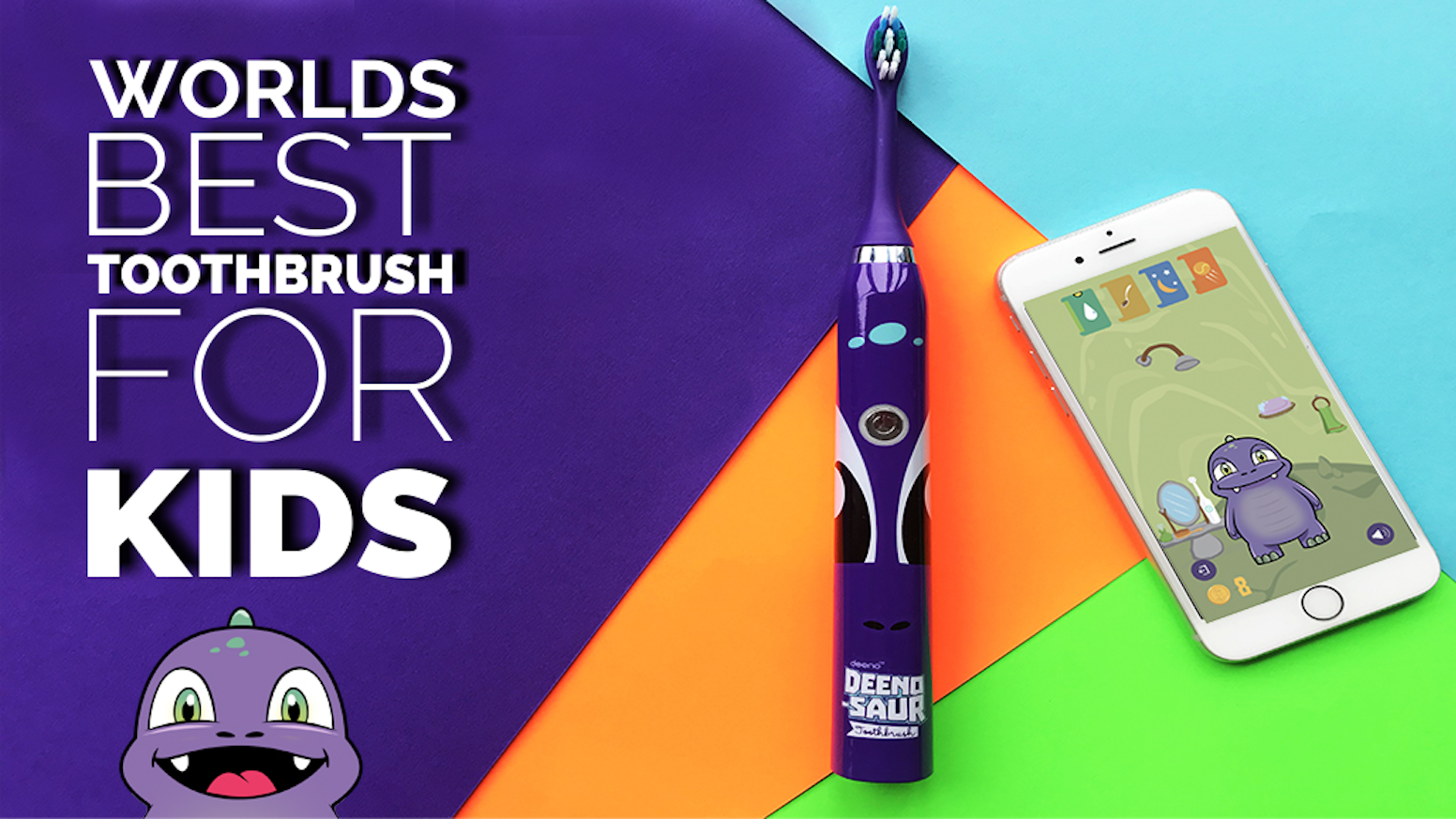 Deeno-saur Smart electric toothbrush and app,  uses gamification to teach kids to brush their teeth properly and improve dental hygiene