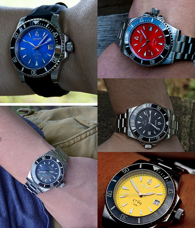 Assorted Colors.  (9 in total to choose from) Pictured Above are Blue Mother of Pear, Sunburst Red, Sunburst Yellow, Black and Black Mother of Pearl.  Ceramic Bezel With Full BWG9 Luminous Is Standard on All Models.