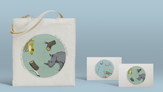 Tote bags and postcards designed by To Cut a Pineapple