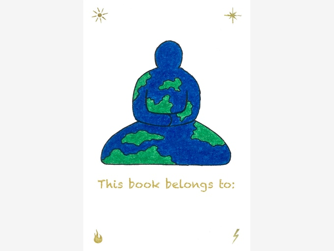 "The limited edition ""Buddha Earth"" bookplate, 1.875"" x 2.75"". Subject to minor changes."