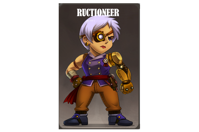 The Ructioneer is a stubborn racer who can mulligan and use contraptions easily.
