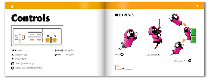 Comprehensive instruction booklet: hero moves, enemies, worlds and more...