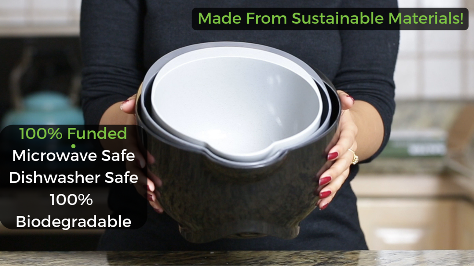 Made from sustainable materials. Dishwasher & microwave safe. Biodegrades into the Earth after you throw it away. You can now get a set of your own on our website. Click the link below to check it out!