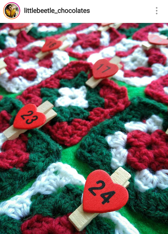 My handmade crochet advent calendar filled with bean-to-bar chocolates has been popular on Instagram since its first appearance