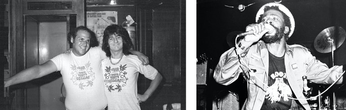 Eppy and Ronnie Wood of the Rolling Stones sporting RASTA ROOTS REGGAE t-shirts in 1977 and Burning Spear wearing the ROOTS shirt during a performance at the club in 1979. Photos by Steve Rosenfield