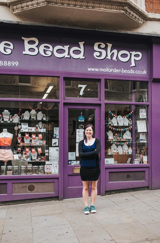 Hana outside The Bead Shop
