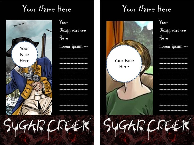 """How did YOU disappear? We are offering the option of being drawn as a """"Legend of Sugar Creek"""" complete with your own character poster!"""