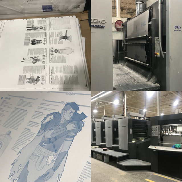 Top right shows a plate being loaded into the press. Bottom left shows what the plate looks like before ink is added. That big beast in the bottom right is printing every HeroBook!