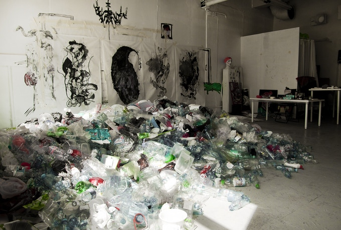 collected plastic in our studio