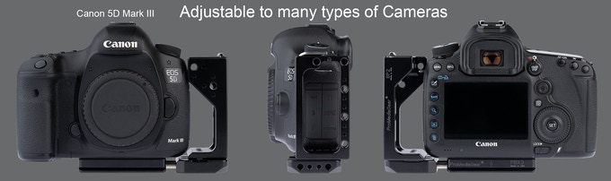 with Canon 5D Mark III, aligned to allow for port connection and protection.
