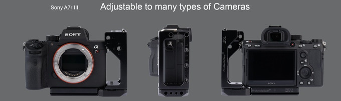with Canon Sony A7r III, aligned to allow for port connection and protection.