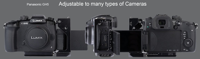with Panasonic GH5, aligned to allow for port connection and protection.  It Can even be moved forward more to allow full articulation of the screen.