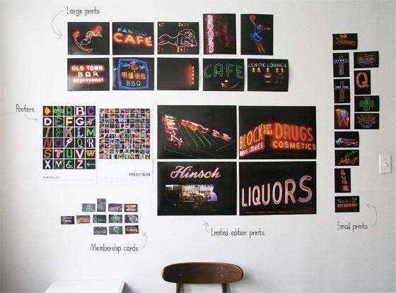 Impresos, carteles y tarjetas de membresía de Project Neon