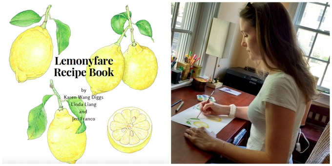 Cecile hand drawing lemons for our recipe book