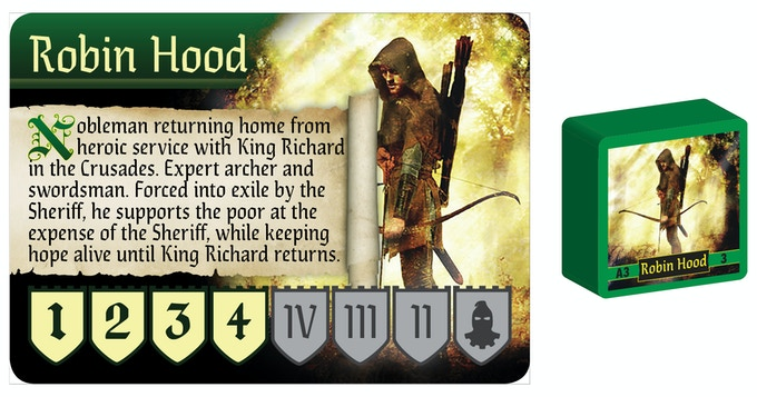 Robin Hood Character Card and Game Piece Sample