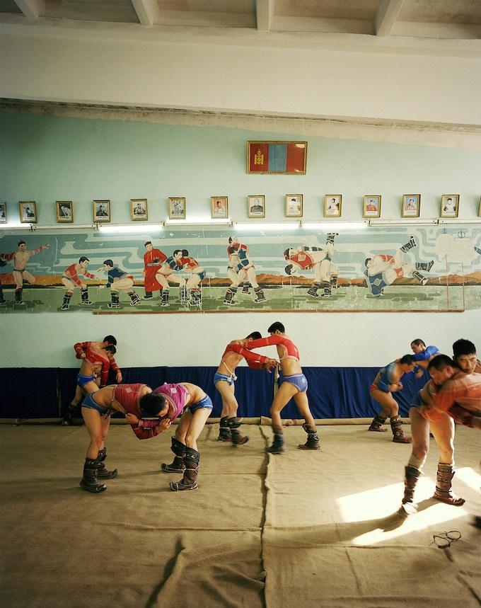 "Nadaam Wrestlers in Training (24x30"")"