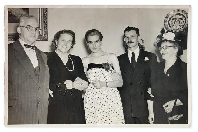 The Cotta's. From left to right: Cotta's father, Cotta's mother, Nené (Cotta's wife), Cotta, Cotta's mother in law. Courtesy of Graciela Skilton Cotta
