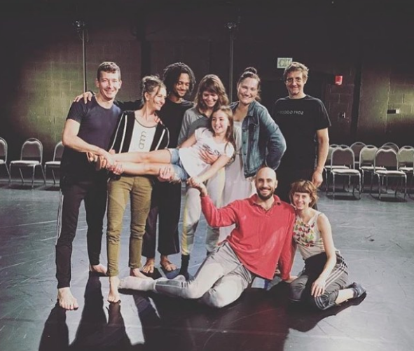 (L to R) Dylan Crossman, Kimberly Bartosik, Christian Allen, Joanna Kotze, Hannah (stand in for Dahlia Bartosik-Murray), Christy Bolingbroke, Burr Johnson, Rick Murray, and Lindsey Jones in residency at NCC-Akron. Photo: Shane Wynn Photography