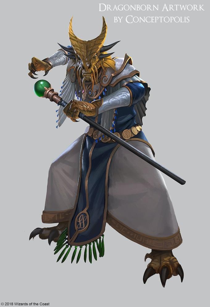 Gold Dragonborn Wizard
