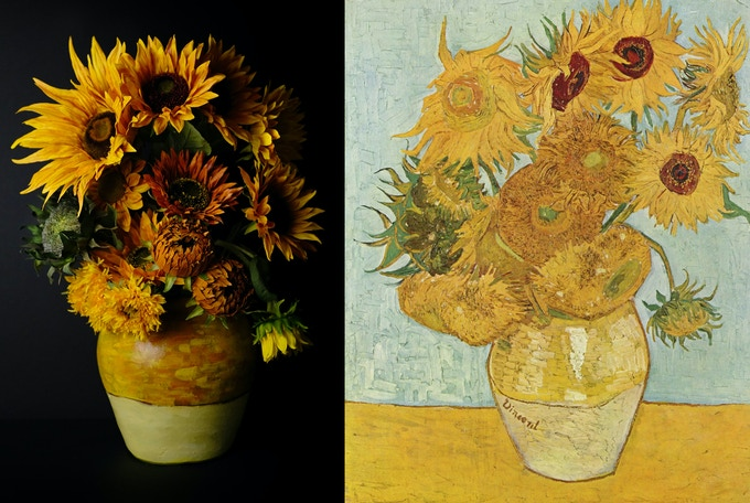 floral decor (with hand-painted pattern) inspired by Van Gogh's Sunflowers