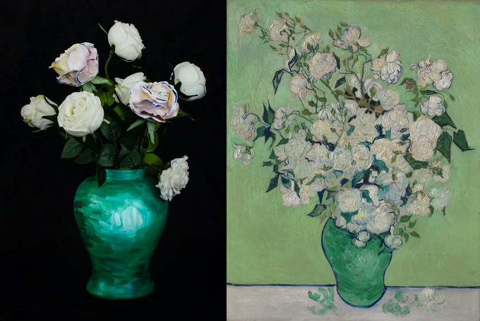 floral decor (with hand-painted pattern) inspired by Van Gogh's Rose