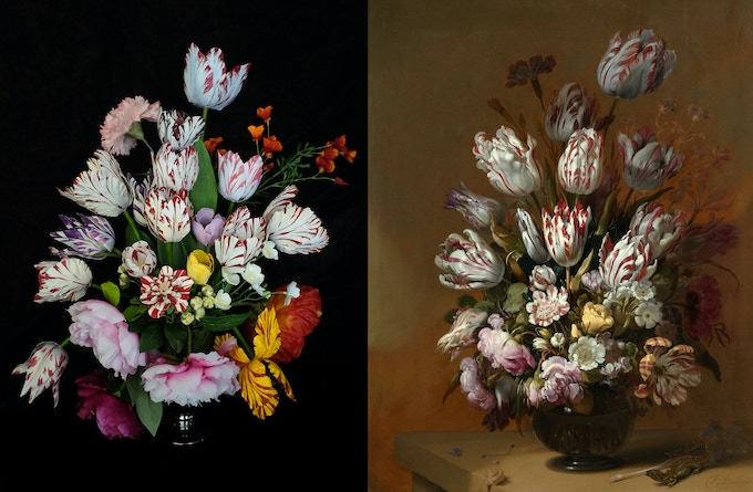 floral decor (with hand-painted pattern) inspired by Hans Bollongier