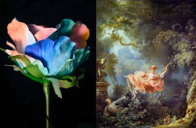 flower with painted pattern inspired by Fragonard