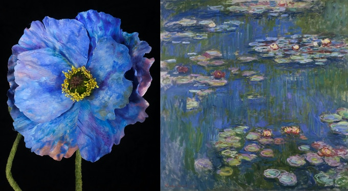flower with painted pattern inspired by Monet