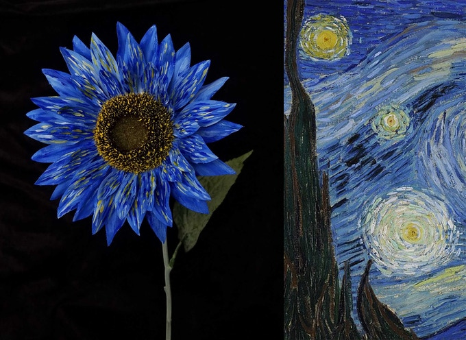 handmade flower inspired by Van Gogh Starry Night