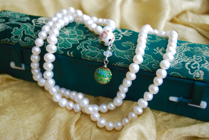 Beautiful prayer beads made from 95 white water pearls with exquisite clasp, packaged in deep green Chinese silk box