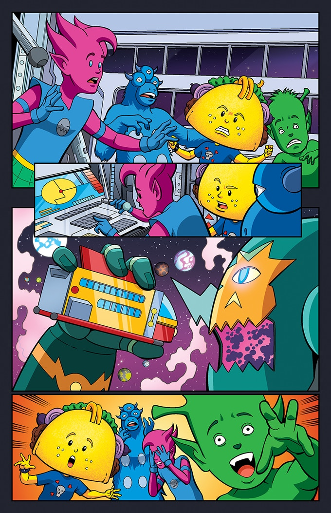 Punk Taco Volume 2 Page 2. Giant taco eating robots can be pretty scary.