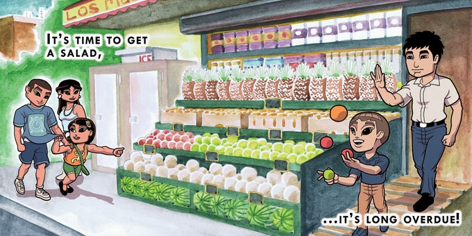 4x6 print 3: Yuen makes an appearance as Luiza drags her family to the fruit stand!
