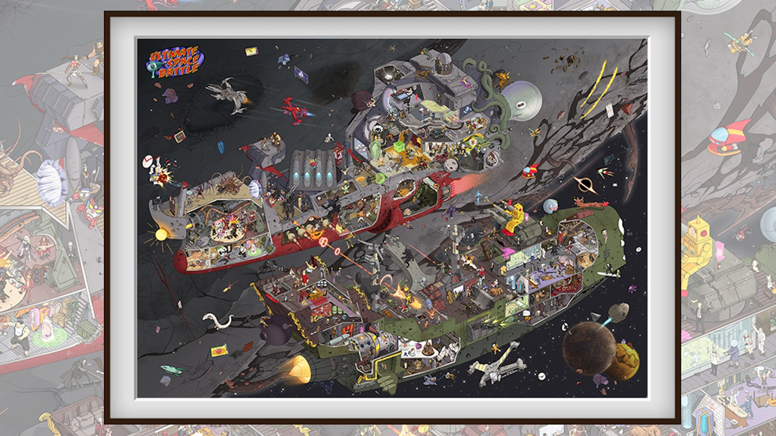 A giant poster of fantastic movie heroes  & super game characters, set in SPACE. Ultra detailed and fully hand-drawn - spot them all!