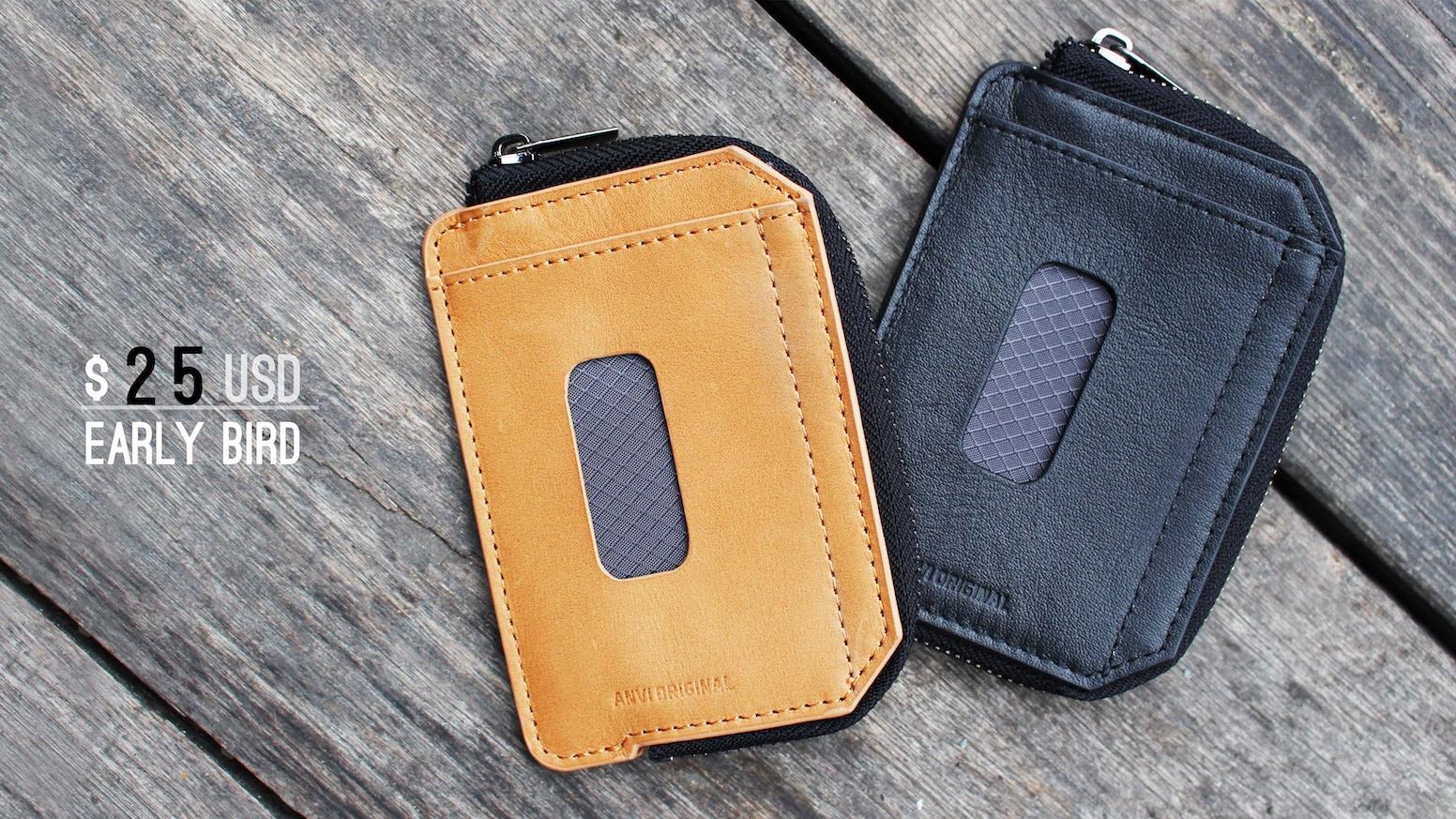 dd1300cb970 ZIP: Minimal RFID zipper leather slim wallet for minimalist. Easily hold  10+ cards ...