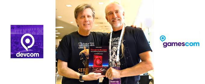 Enrico Ricciardi and Richard Garriott with Through the Moongate mockup