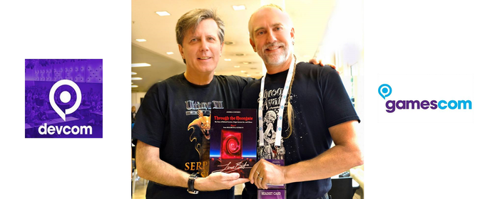Enrico Ricciardi and Richard Garriott with Through the Moongate mockup