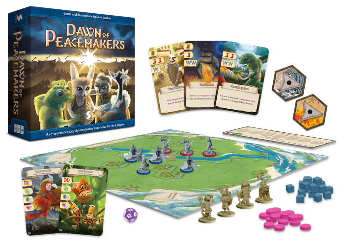 A story-driven board game experience with a continuing campaign. Try to reach a peaceful conclusion with your fellow adventurers.